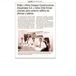 Moller y Pérez - Cotapos, Construcciones Industriales S.A. y Volvo Chile firman contrato para construir edificio de oficinas y talleres