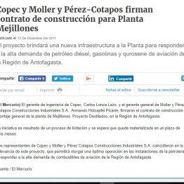 Copec y Moller y Pérez-Cotapos firman contrato de construcción para Planta Mejillones