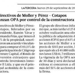 Directivos de Moller y Pérez-Cotapos lanzan OPA por control de la constructora