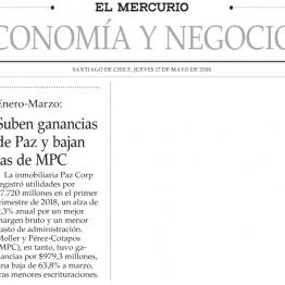 EyN: Moller y Pérez-Cotapos publica ganacias Ene-Feb 2018