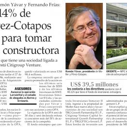 Dueños del 14% de Moller y Pérez-Cotapos lanzan OPA para tomar el control de la constructora