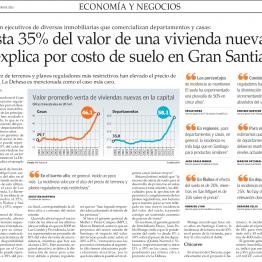 Hasta 35% del valor de una vivienda nueva se explica por costo de suelo en Gran Santiago
