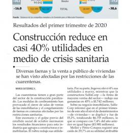 Construcción reduce en casi 40% utilidades en medio de crisis sanitaria