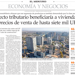 EyN: Proyecto tributario beneficiaría a viviendas con precios de venta de hasta siete mil UF