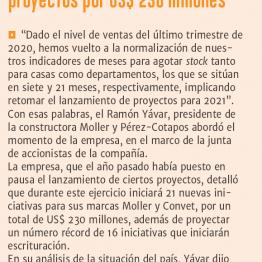 Moller y Pérez-Cotapos lanzará 21 proyectos por US$ 230 millones