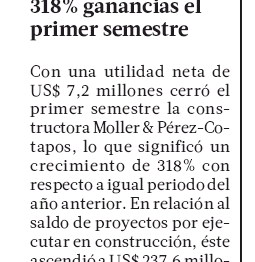 LT: Moller & Pérez-Cotapos sube en 318% ganancias el primer semestre
