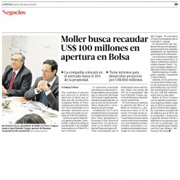 Moller busca recaudar US$100 millones en apertura en bolsa
