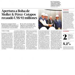 Apertura a la Bolsa de Moller & Pérez Cotapos. recaudó US$ 92 millones