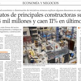 Contratos de principales constructoras suman US$ 4 mil millones y caen 11% en último año