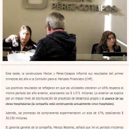 Utilidades de Moller y Pérez-Cotapos suben 63% al primer trimestre.
