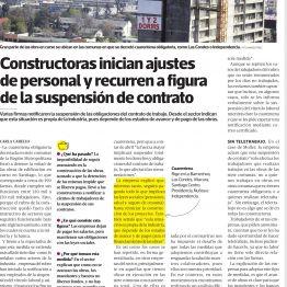 Constructoras inician ajustes de personal y recurren a figura de la suspensión de contrato