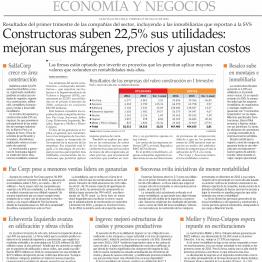 Constructoras suben 22,5% sus utilidades: mejoras sus márgenes, precios y ajustan costos