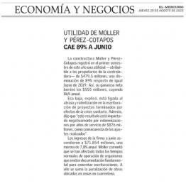 Utilidad de Moller y Pérez-Cotapos cae 89% a junio