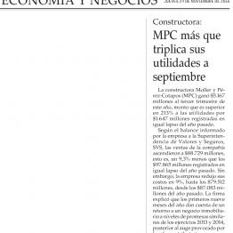 MPC más que triplica sus utilidades a septiembre