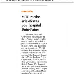 MOP recibe seis ofertas por hospital Buin-Paine