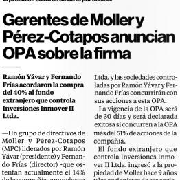 Directivos de Moller y Pérez-Cotapos anuncian OPA sobre la firma