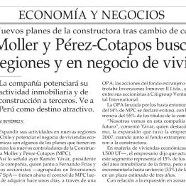 Moller y Pérez-Cotapos busca crecer en regiones y en negocio de viviendas económicas