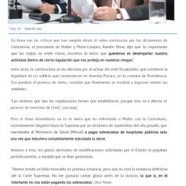 """Presidente de Moller por incertezas jurídicas: """"Es inquietante que las reglas no estén claras"""""""