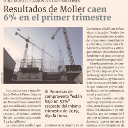 Resultados de Moller caen 6% en el primer trimestre