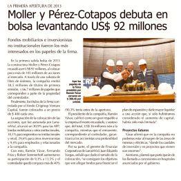 Moller y Pérez-Cotapos debuta en bolsa levantando US$ 92 millones