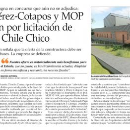 Moller y Pérez-Cotapos y MOP se enfrentan por licitación de hospital de Chile Chico