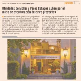 Utilidades de Moller y Pérez-Cotapos suben por el inicio de escrituración de cinco proyectos
