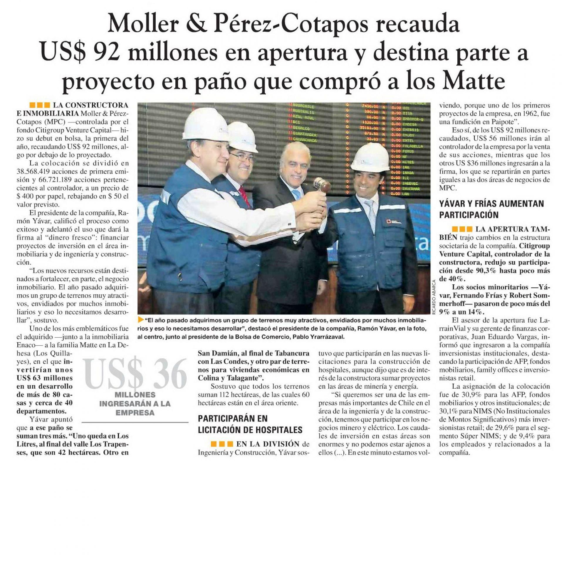 Moller & Pérez Cotapos recauda US$ 92 millones en la apertura y destina parte a proyecto en paño que compró a los Matte