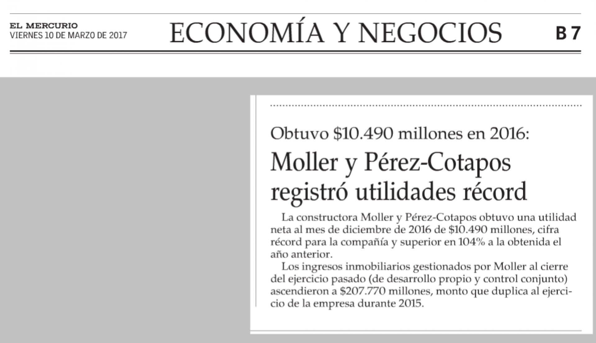 Moller y Pérez-Cotapos registró utilidades récord