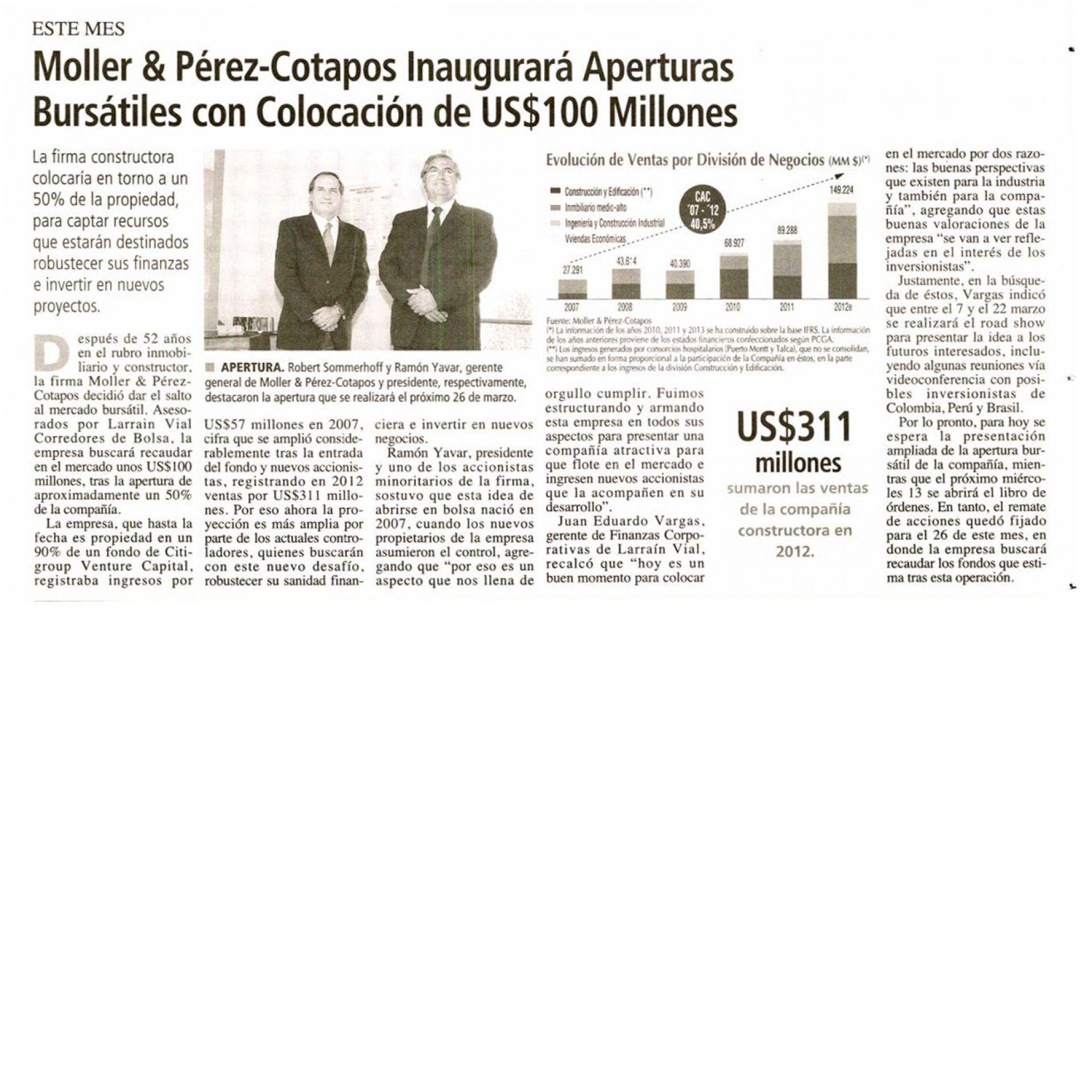 Moller y Pérez - Cotapos inaugurará aperturas bursátiles con colocación de US$100 millones